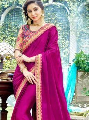 Designer Saree Stone Work Rangoli in Pink