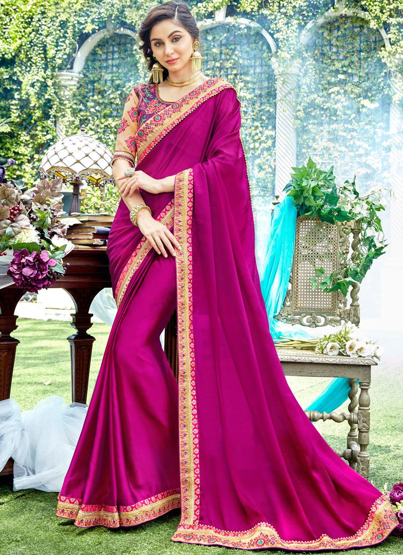 Designer Saree Stone Work Rangoli in Pink