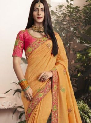 Designer Saree Thread Georgette in Yellow