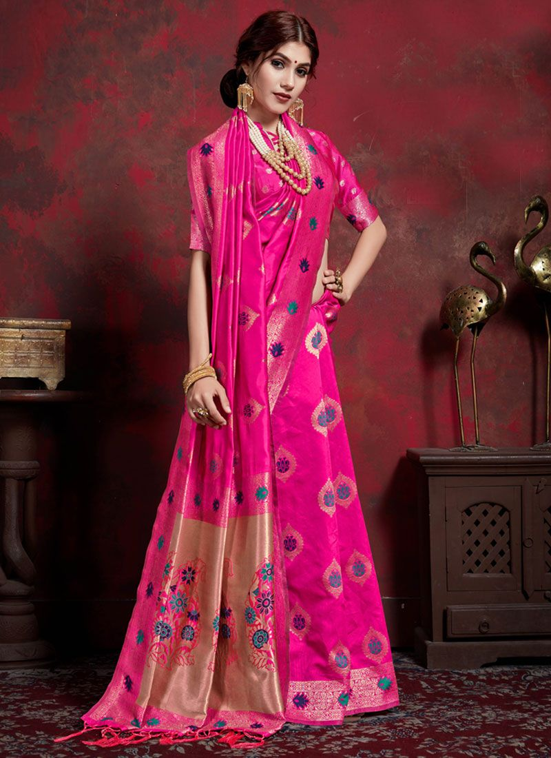 Designer Saree Weaving Art Silk in Pink