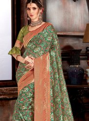 Designer Saree Weaving Bhagalpuri Silk in Green