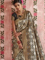 Designer Saree Weaving Silk in Black and Gold