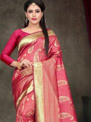 Designer Saree Woven Art Silk in Rose Pink