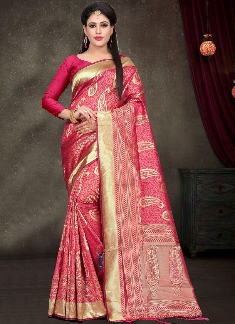 Designer Saree Woven Art Silk in Rose Pink