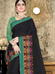 Designer Saree Woven Cotton in Black