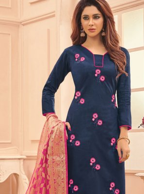 Designer Straight Salwar Suit Embroidered Cotton in Blue