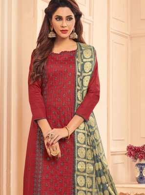 Designer Straight Salwar Suit Embroidered Cotton in Maroon