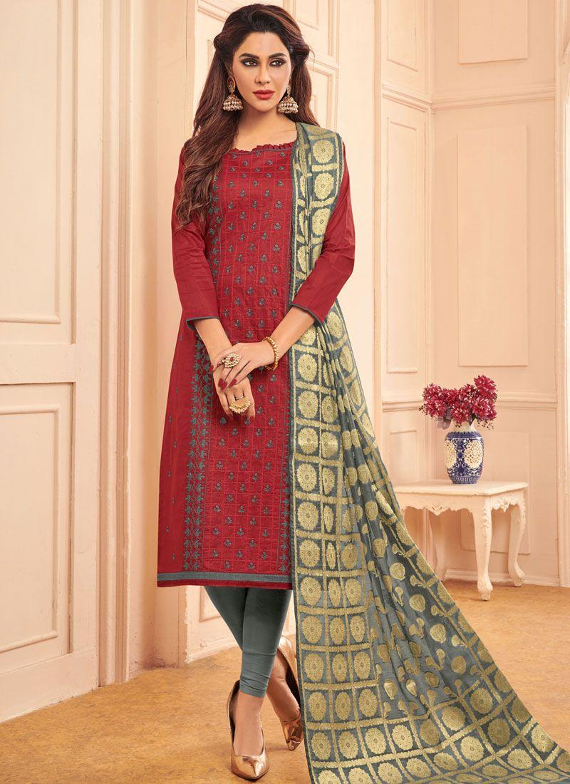 Designer Straight Salwar Suit Embroidered Cotton in Maroon
