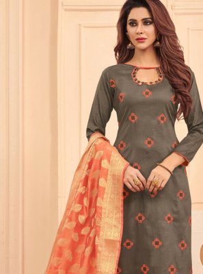 Designer Straight Salwar Suit Embroidered Cotton in Grey