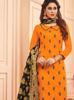 Designer Straight Salwar Suit Embroidered Cotton in Orange