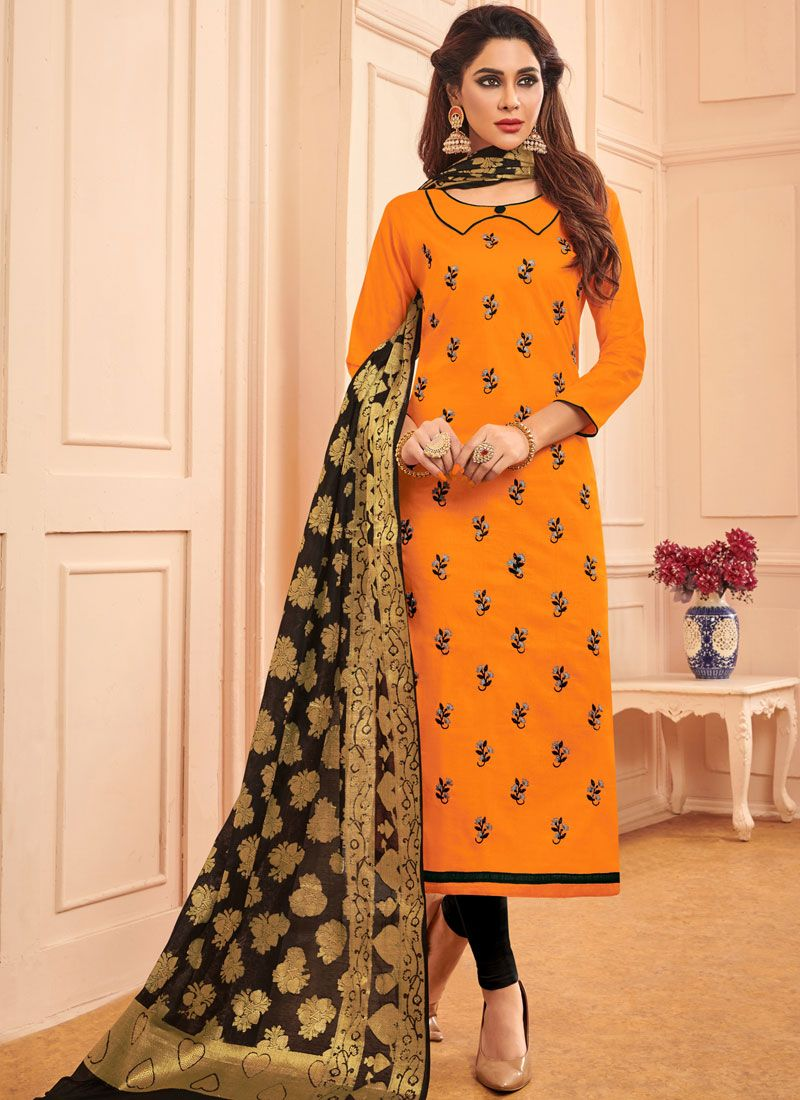 Designer Straight Salwar Suit Embroidered Cotton in Orange