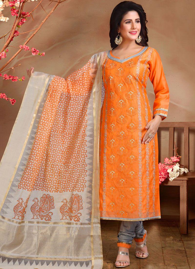 Designer Straight Suit Embroidered Chanderi in Orange