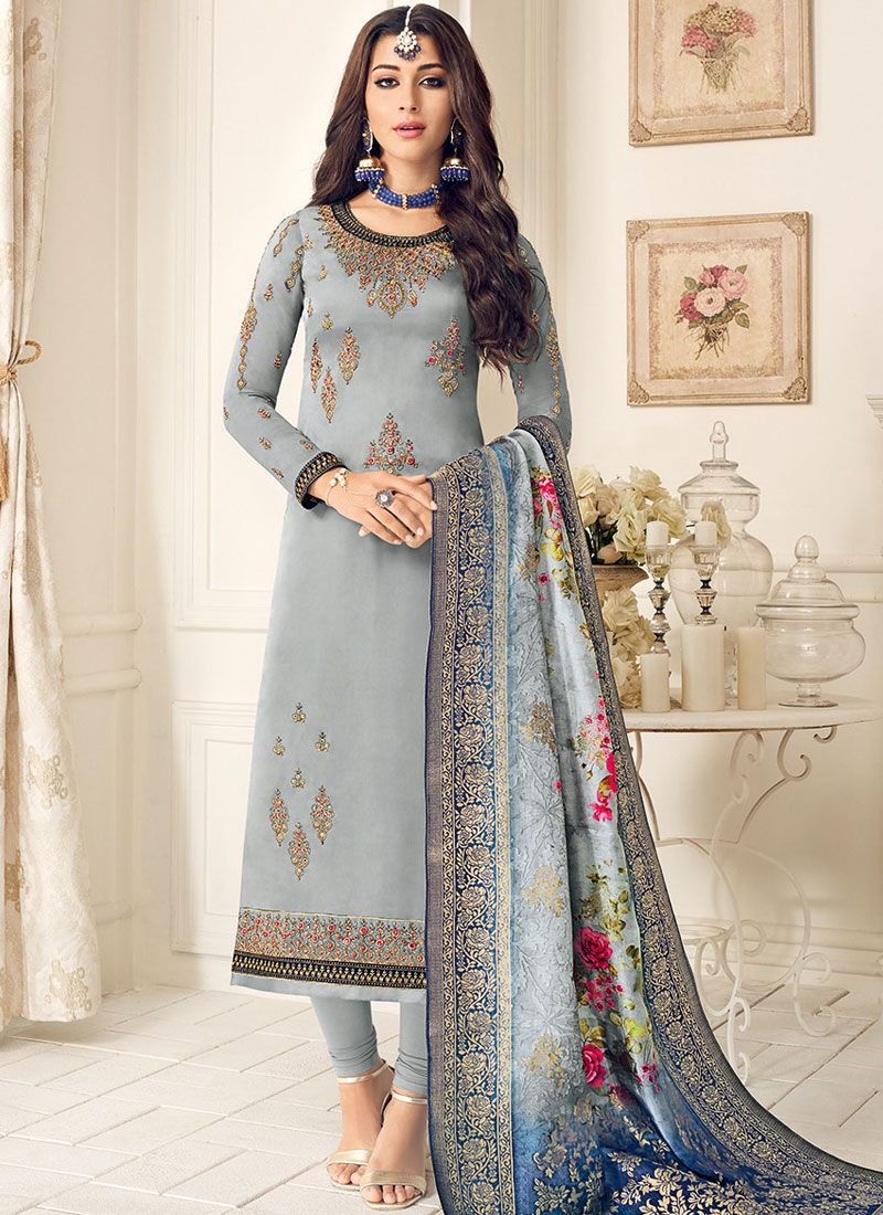 Designer Straight Suit Embroidered Faux Georgette in Grey