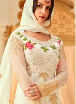 Designer Straight Suit Embroidered Net in Off White