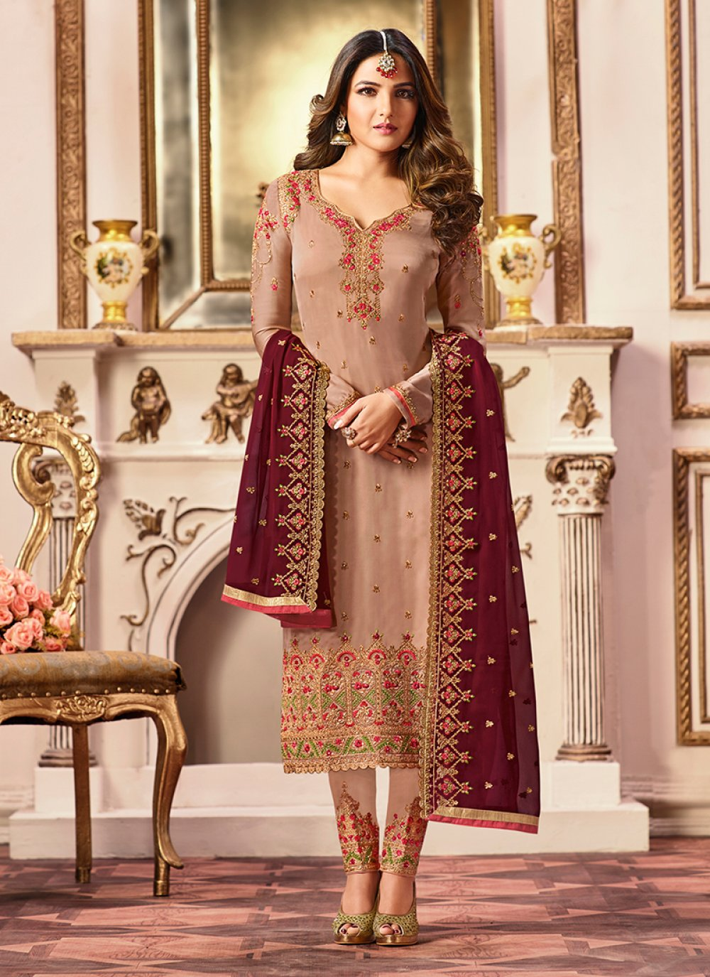 Designer Straight Suit For Sangeet