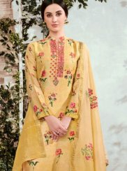 Designer Suit Print Cotton in Yellow