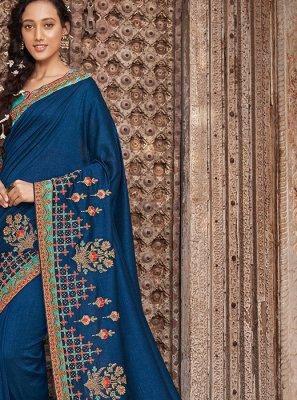 Designer Traditional Saree Embroidered Art Silk in Blue