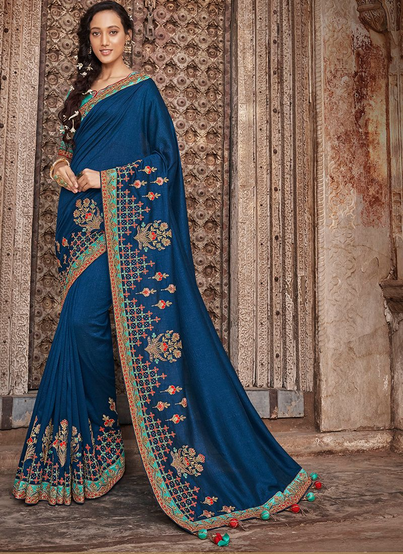 Designer Traditional Saree Embroidered Art Silk in Blue