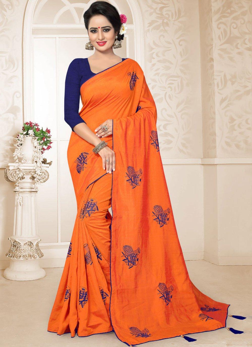 Designer Traditional Saree Embroidered Art Silk in Orange