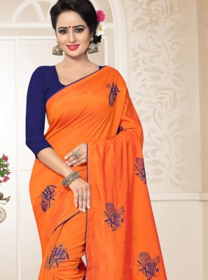 Designer Traditional Saree Embroidered Art Silk in Orange