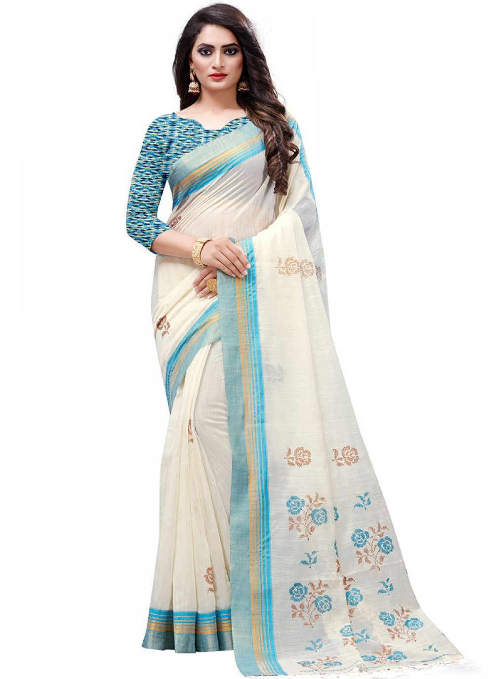 Designer Traditional Saree Embroidered Cotton in White