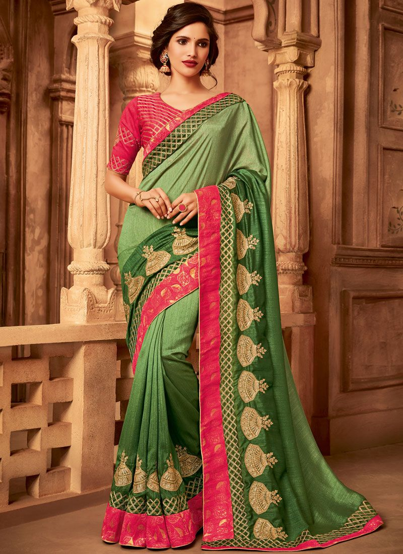 Designer Traditional Saree Embroidered Fancy Fabric in Green