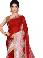 Designer Traditional Saree Embroidered Faux Georgette in Red