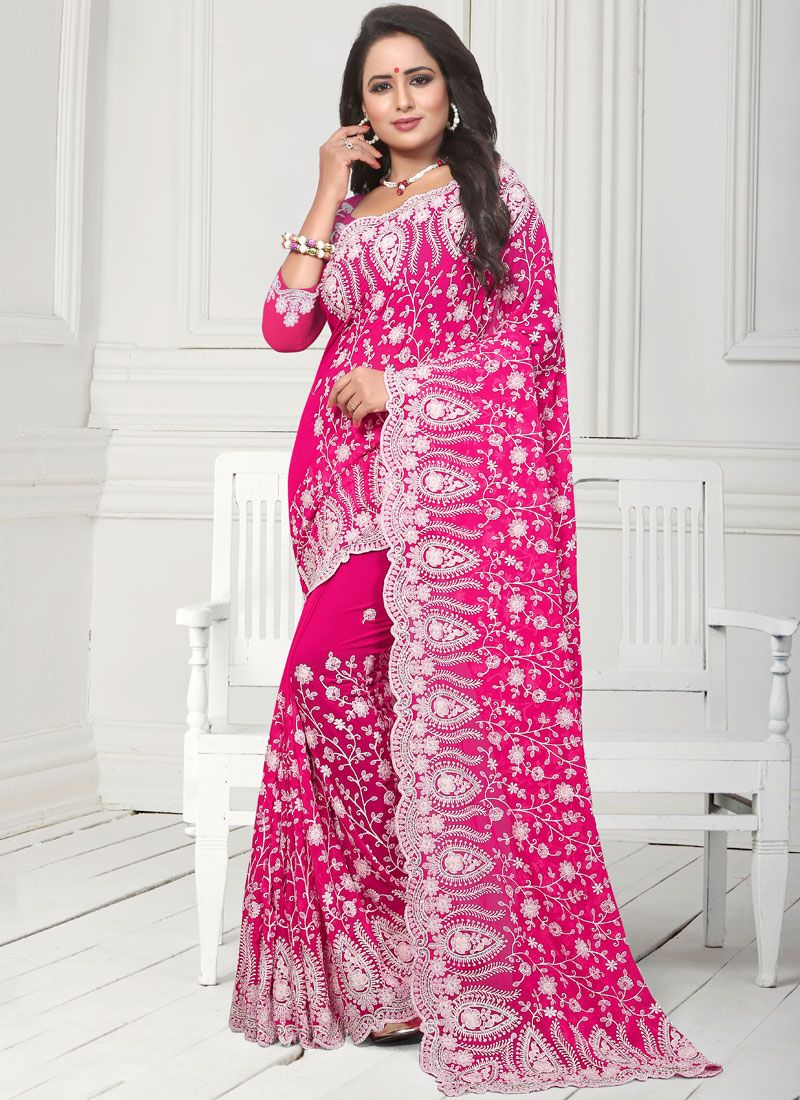 Designer Traditional Saree Embroidered Faux Georgette in Rose Pink