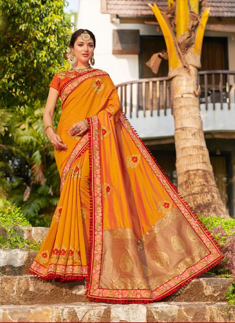 Designer Traditional Saree Embroidered Jacquard Silk in Mustard