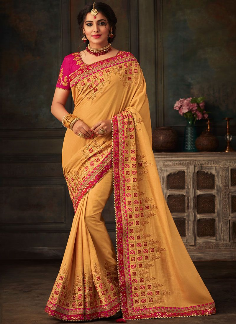 Designer Traditional Saree Embroidered Poly Silk in Yellow