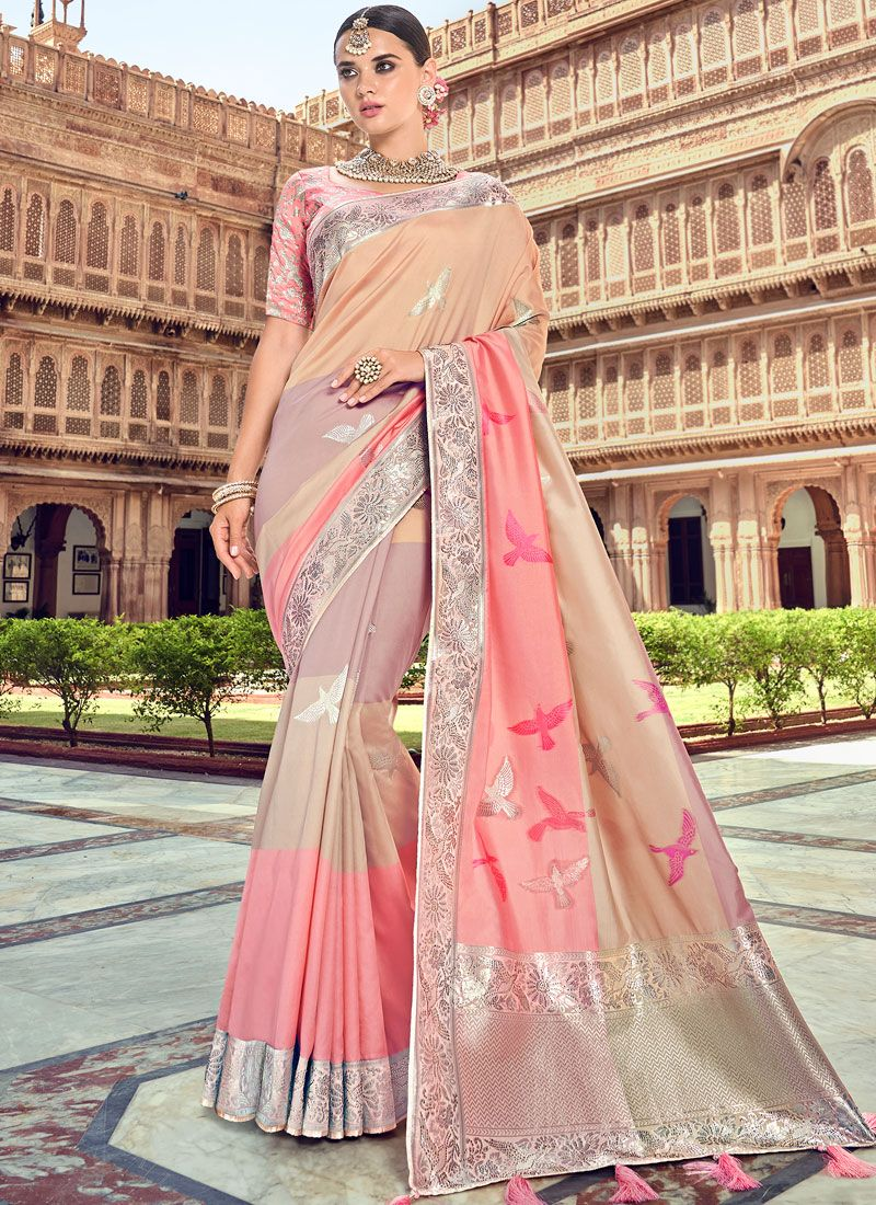 Designer Traditional Saree Embroidered Silk in Beige and Pink