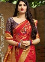 Designer Traditional Saree Machine Embroidery  Art Banarasi Silk in Red