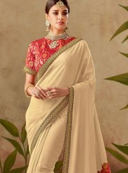 Designer Traditional Saree Patch Border Art Silk in Beige