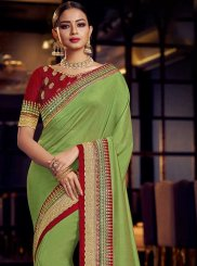 Designer Traditional Saree Patch Border Art Silk in Green