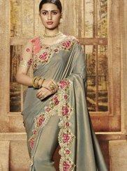 Designer Traditional Saree Patch Border Art Silk in Grey