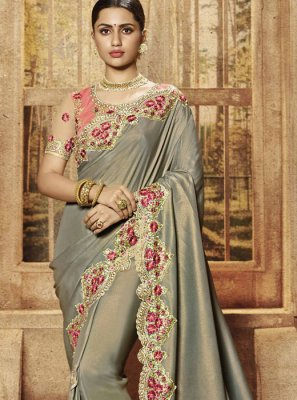 Designer Traditional Saree Patch Border Art Silk in Grey