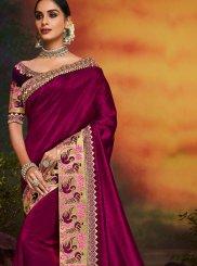 Designer Traditional Saree Patch Border Art Silk in Magenta