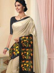 Designer Traditional Saree Printed Linen in Cream