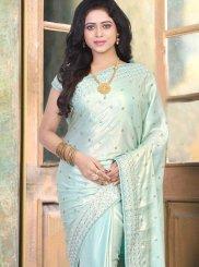 Designer Traditional Saree Resham Art Silk in Blue