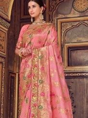 Designer Traditional Saree Resham Art Silk in Pink