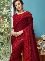 Designer Traditional Saree Resham Cotton Silk in Maroon