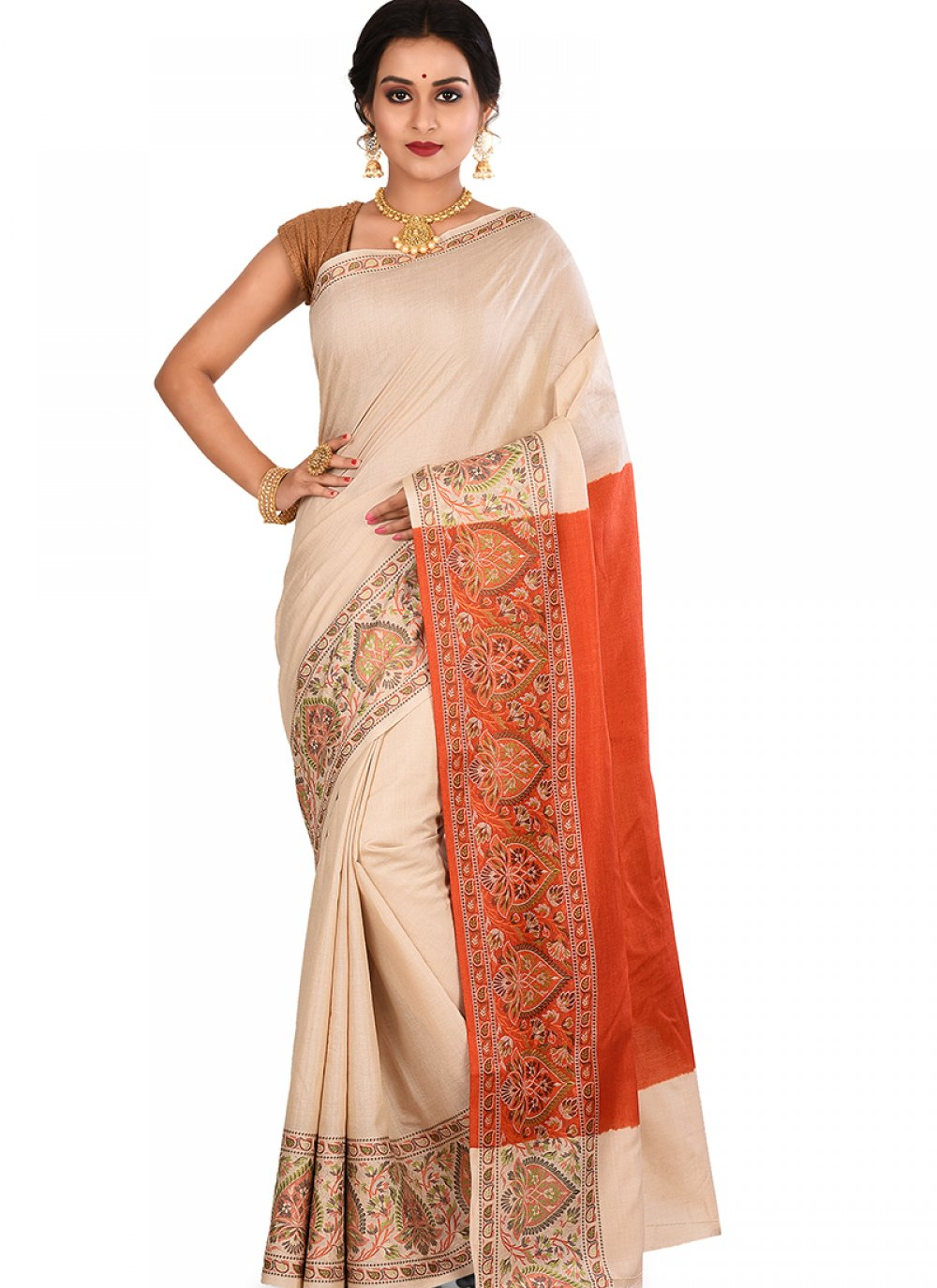 Designer Traditional Saree Weaving Art Banarasi Silk in Cream