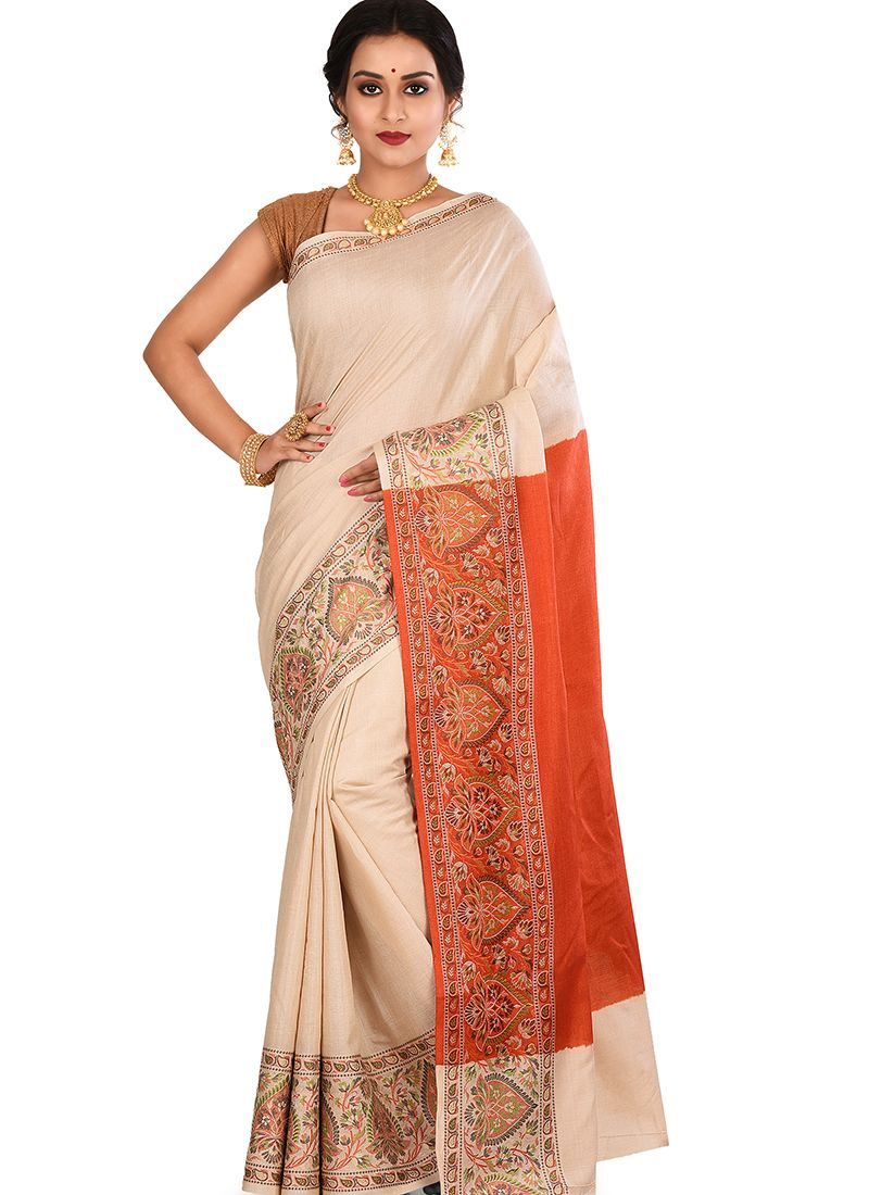Designer Traditional Saree Weaving Art Banarasi Silk in Cream