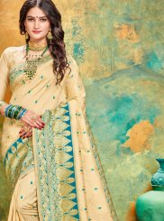 Designer Traditional Saree Weaving Art Silk in Cream and Firozi