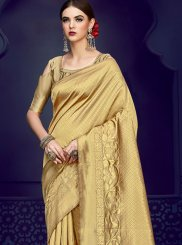 Designer Traditional Saree Weaving Art Silk in Gold