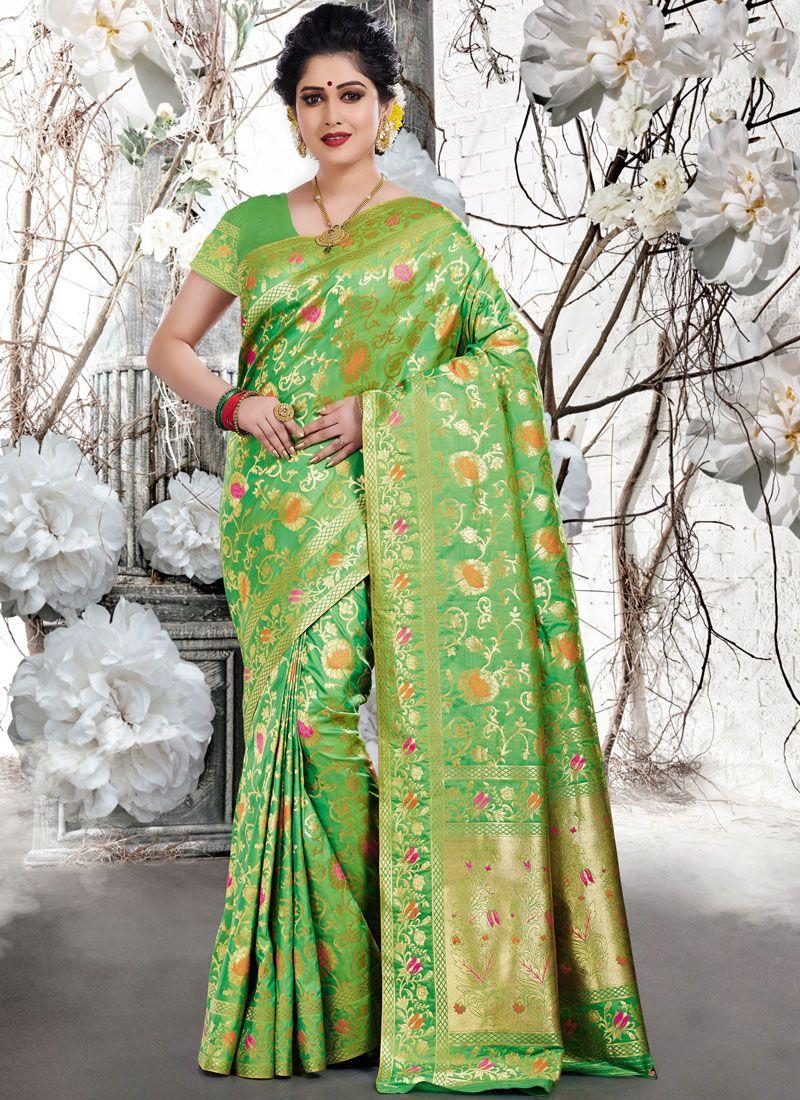 Designer Traditional Saree Weaving Art Silk in Green