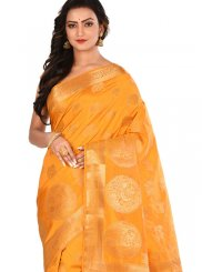 Designer Traditional Saree Weaving Art Silk in Orange
