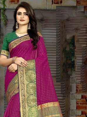 Designer Traditional Saree Weaving Art Silk in Pink