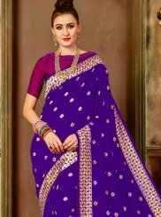 Designer Traditional Saree Weaving Art Silk in Purple