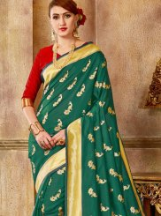 Designer Traditional Saree Weaving Art Silk in Sea Green